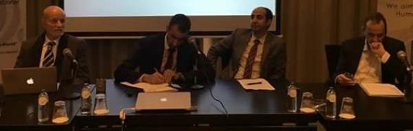 """مشاركة رئيس التحالف الدولي بندوة بـ""""لاهاي""""ويعلن من محكمة العدل الدولية متابعات قضائية لمرتكبي جرائم الحرب"""